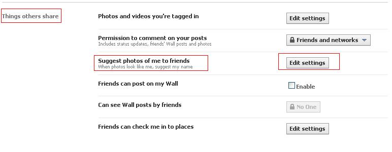 Facebook privacy settings - Things others share
